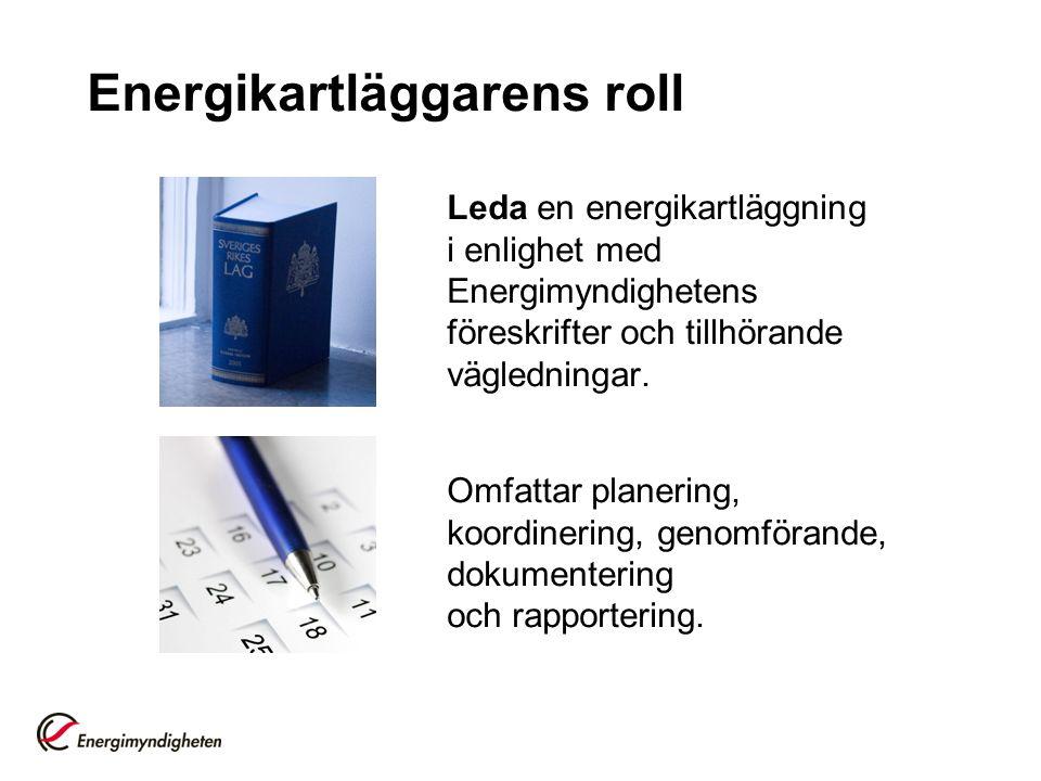 Energikartläggarens roll Leda en energikartläggning i enlighet med Energimyndighetens föreskrifter och tillhörande vägledningar. Omfattar planering, k