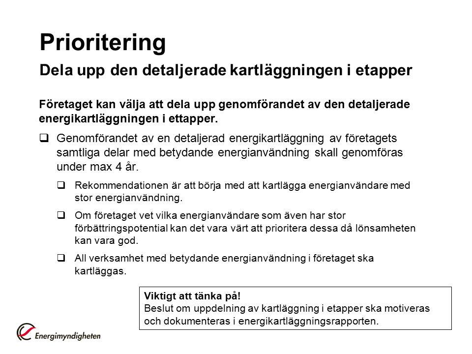 Prioritering Dela upp den detaljerade kartläggningen i etapper Företaget kan välja att dela upp genomförandet av den detaljerade energikartläggningen