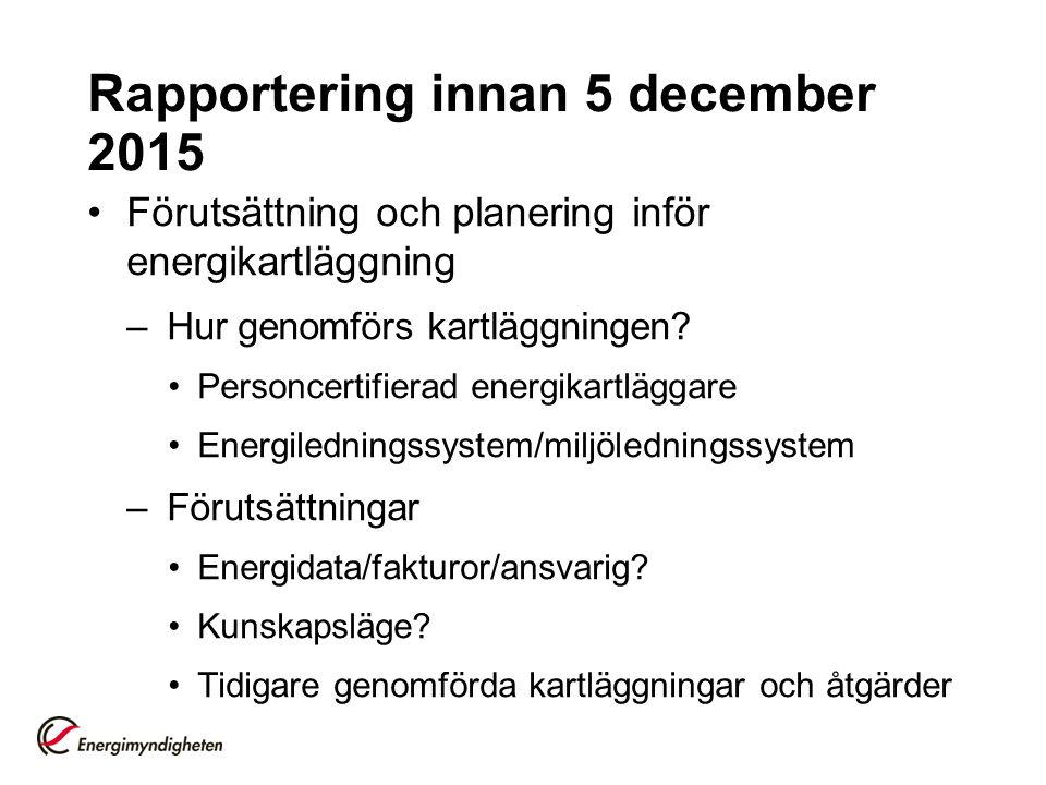 Rapportering innan 5 december 2015 Förutsättning och planering inför energikartläggning –Hur genomförs kartläggningen? Personcertifierad energikartläg