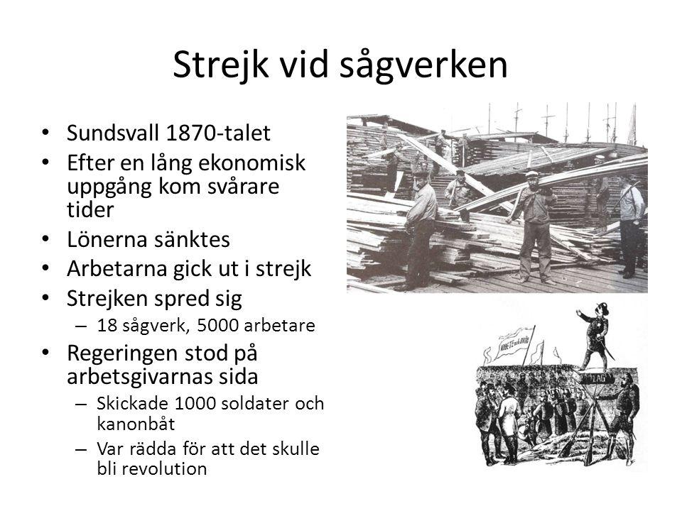 Strejk vid sågverken Sundsvall 1870-talet Efter en lång ekonomisk uppgång kom svårare tider Lönerna sänktes Arbetarna gick ut i strejk Strejken spred