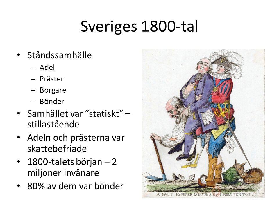 """Sveriges 1800-tal Ståndssamhälle – Adel – Präster – Borgare – Bönder Samhället var """"statiskt"""" – stillastående Adeln och prästerna var skattebefriade 1"""