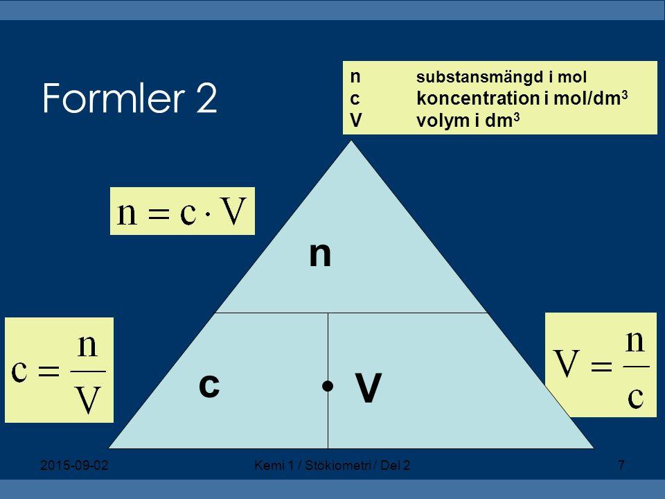 Räkneexempel 13b Lösning 1: n = 0,10 mol c = 2,0 mol/dm 3 Beräkning: V = n/c = 0,10 mol/(2,0 mol/ dm 3 ) = 0,050 dm 3 Svar: 50,0 cm 3 2,0 mol/dm 3 NaOH ska alltså spädas till volymen 1,0 dm 3.