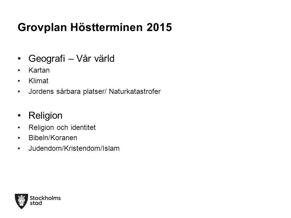 Grovplan Höstterminen 2015 Geografi – Vår värld Kartan Klimat Jordens sårbara platser/ Naturkatastrofer Religion Religion och identitet Bibeln/Koranen