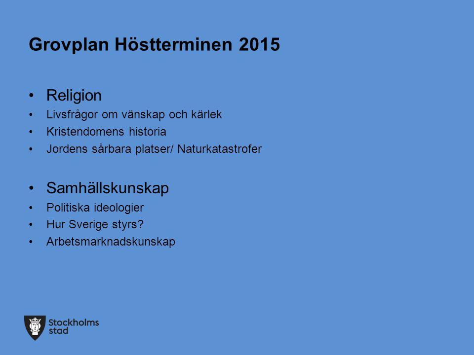 Grovplan Höstterminen 2015 Religion Livsfrågor om vänskap och kärlek Kristendomens historia Jordens sårbara platser/ Naturkatastrofer Samhällskunskap Politiska ideologier Hur Sverige styrs.