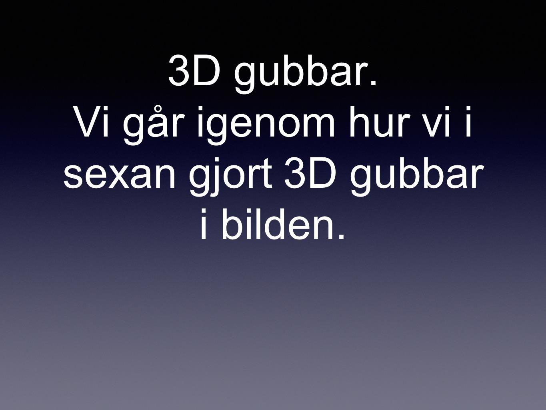3D gubbar. Vi går igenom hur vi i sexan gjort 3D gubbar i bilden.