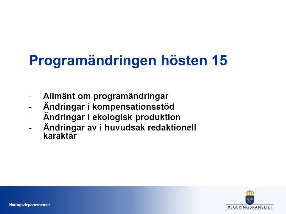 Näringsdepartementet Programändringar - generellt Under programperioden tillåts; –tre stora = påverkar budgeten –en årlig = utan budgetpåverkan (t.ex.