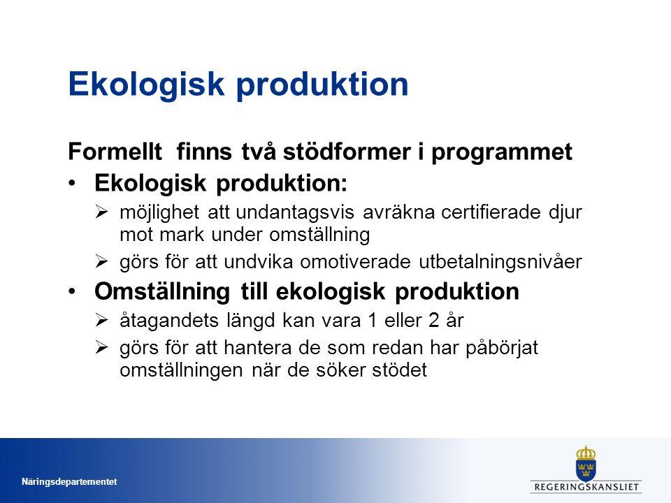 Näringsdepartementet Ekologisk produktion Formellt finns två stödformer i programmet Ekologisk produktion:  möjlighet att undantagsvis avräkna certif