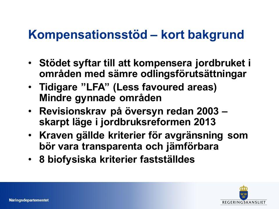 Näringsdepartementet Kompensationsstöd - Avgränsningsmetodik Steg 1 = yttre avgränsning Steg 2 = finjustering Steg 3 = stödområdesindelning