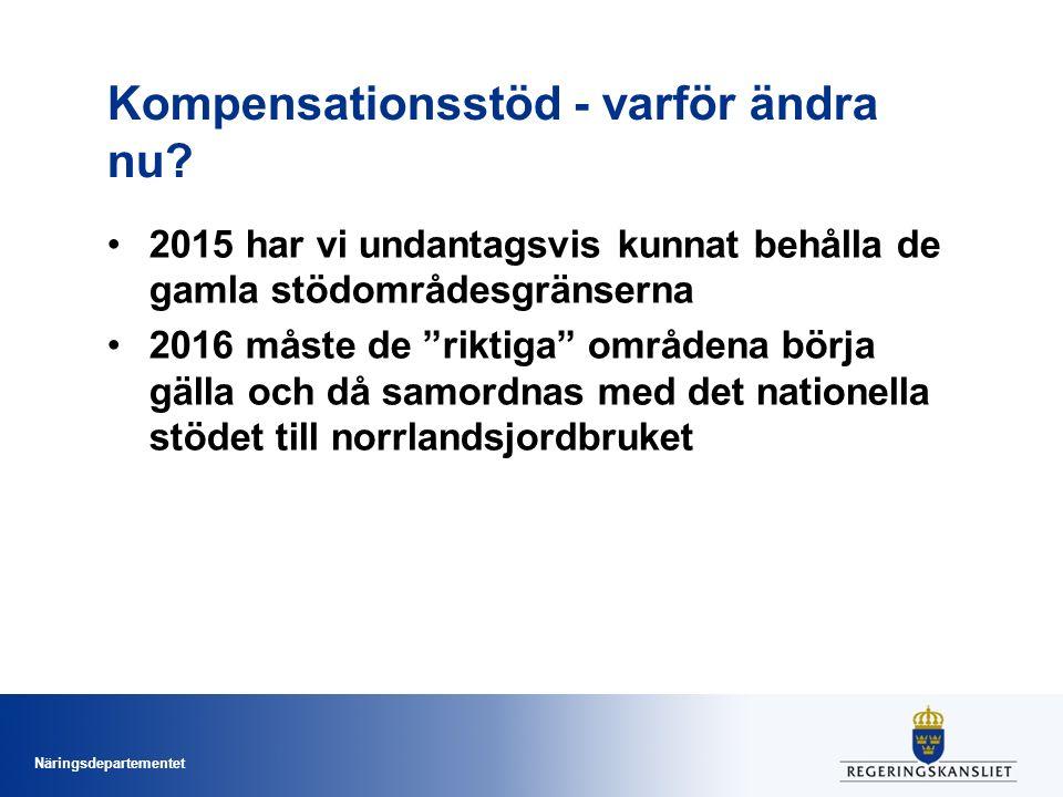 Näringsdepartementet Kompensationsstöd Tre typer av områden Bergsområden ~ Norrland Områdesindelning naturliga begränsningar ~ Småländska höglandet Områdesindelning särskilda begränsningar ~ sociala skäl (kustområden och öar) Dessa områden delas sedan in i stödområden som ligger till grund för ersättningsnivån