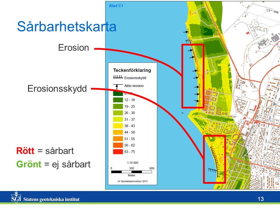 13 Sårbarhetskarta Rött = sårbart Grönt = ej sårbart Erosionsskydd Erosion