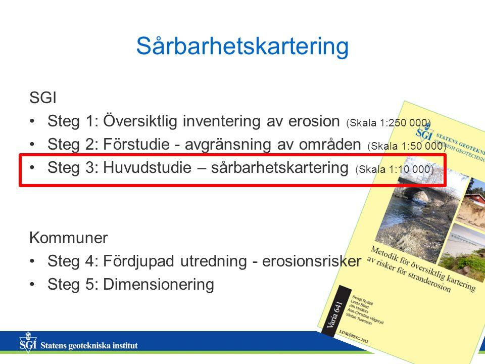 7 Sårbarhetskartering SGI Steg 1: Översiktlig inventering av erosion (Skala 1:250 000) Steg 2: Förstudie - avgränsning av områden (Skala 1:50 000) Ste