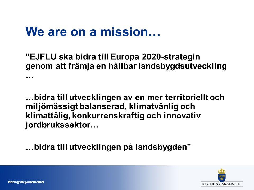 Näringsdepartementet We are on a mission… EJFLU ska bidra till Europa 2020-strategin genom att främja en hållbar landsbygdsutveckling … …bidra till utvecklingen av en mer territoriellt och miljömässigt balanserad, klimatvänlig och klimattålig, konkurrenskraftig och innovativ jordbrukssektor… …bidra till utvecklingen på landsbygden