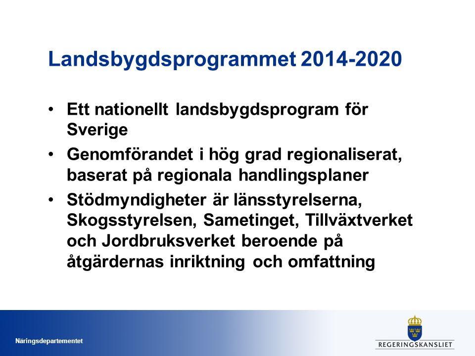 Näringsdepartementet Landsbygdsprogrammet 2014-2020 Ett nationellt landsbygdsprogram för Sverige Genomförandet i hög grad regionaliserat, baserat på regionala handlingsplaner Stödmyndigheter är länsstyrelserna, Skogsstyrelsen, Sametinget, Tillväxtverket och Jordbruksverket beroende på åtgärdernas inriktning och omfattning