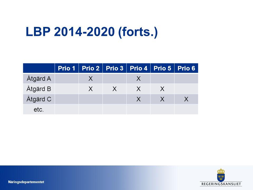 Näringsdepartementet LBP 2014-2020 (forts.) Prio 1Prio 2Prio 3Prio 4Prio 5Prio 6 Åtgärd AXX Åtgärd BXXXX Åtgärd CXXX etc.