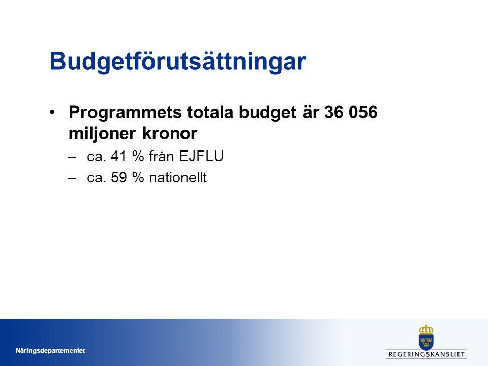 Näringsdepartementet Budgetförutsättningar Programmets totala budget är 36 056 miljoner kronor –ca. 41 % från EJFLU –ca. 59 % nationellt