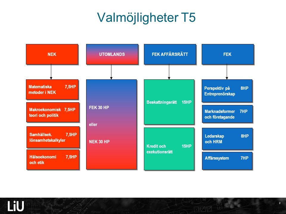 3 Valmöjligheter T6 Marknadsföring & Distribution 7,5 HP Strategier och mafö i tjänsteföretag 7,5 HP Marknadsföring & Distribution 7,5 HP Strategier och mafö i tjänsteföretag 7,5 HP Redovisnings- teori 7,5 HP Koncernredov.