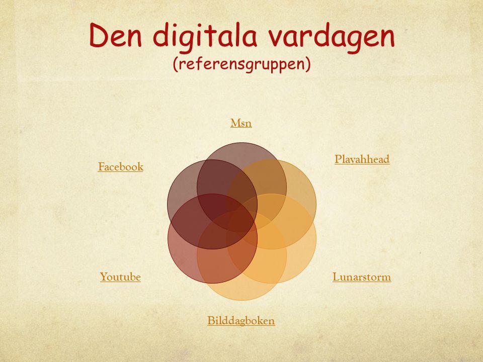Den digitala vardagen (referensgruppen) Msn Playahhead Lunarstorm Bilddagboken Youtube Facebook