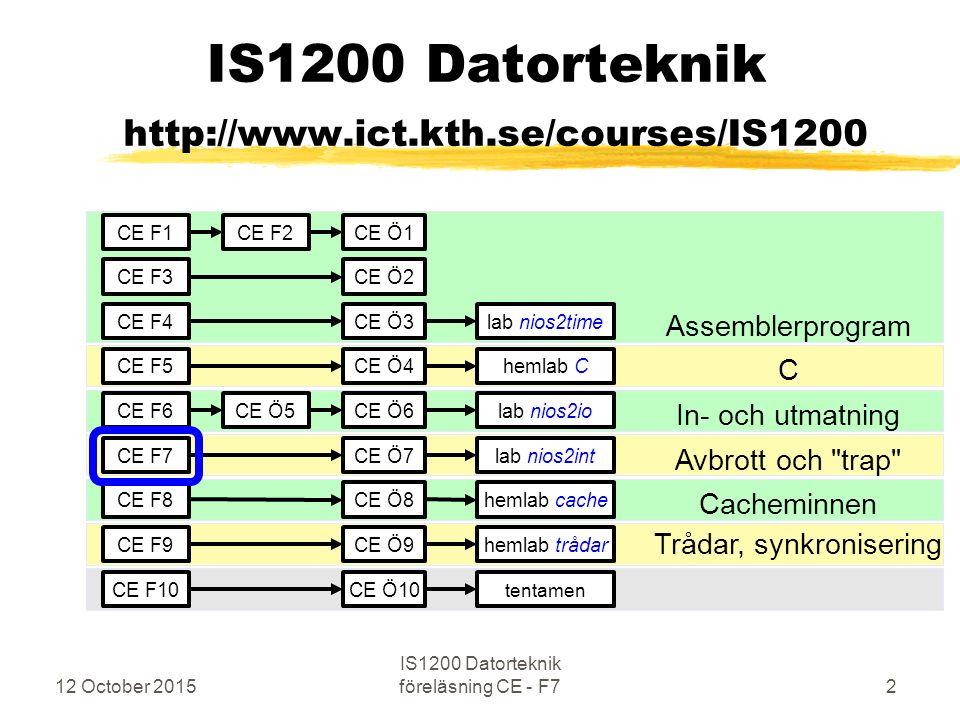 12 October 2015 IS1200 Datorteknik föreläsning CE - F783 Tillåt avbrott med högre prioritet static alt_u32 alt_irq_interruptible (alt_u32 priority) Tillåt endast avbrott med högre prioritet än angiven priority dvs med index lägre än priority Som returvärde erhålls gamla IENABLE/ctl3 Eller på en högre akademisk nivå den gamla prioritetsmasken Och, det görs EI dvs bit med index 0 i STATUS ettställs aktivt Bottom Up: Nollställ alla bitar med samma eller högre index i IENABLE/ctl3 Samt ettställ bit med index 0 i STATUS ( Enable Interrupt ) Returnera gamla värdet av från IENABLE/ctl3 (som kan kallas oldmask)