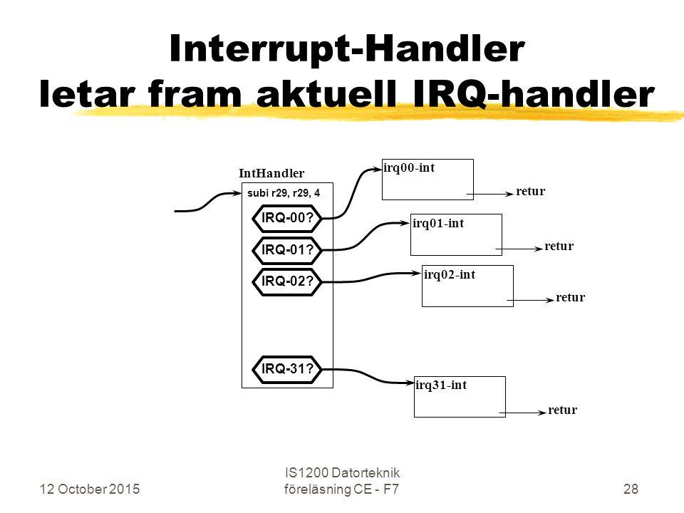 12 October 2015 IS1200 Datorteknik föreläsning CE - F728 Interrupt-Handler letar fram aktuell IRQ-handler IntHandler irq00-int irq01-int irq31-int ret