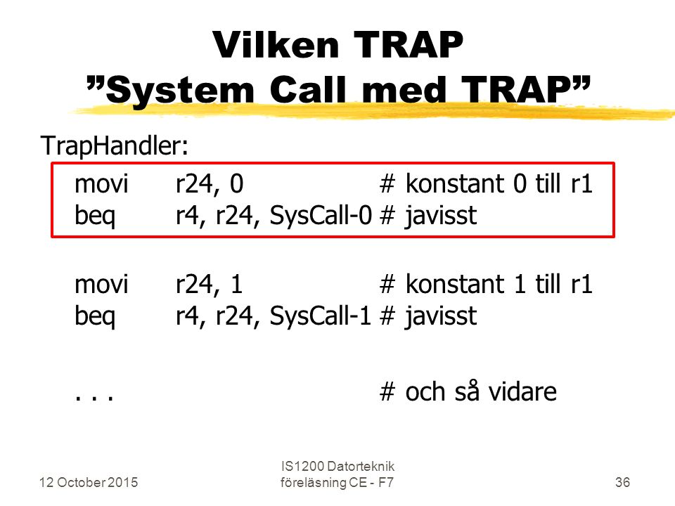 12 October 2015 IS1200 Datorteknik föreläsning CE - F736 Vilken TRAP System Call med TRAP TrapHandler: movir24, 0# konstant 0 till r1 beqr4, r24, SysCall-0# javisst movir24, 1# konstant 1 till r1 beqr4, r24, SysCall-1# javisst...# och så vidare