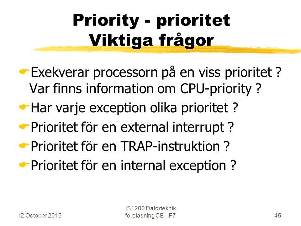 12 October 2015 IS1200 Datorteknik föreläsning CE - F745 Priority - prioritet Viktiga frågor  Exekverar processorn på en viss prioritet ? Var finns i