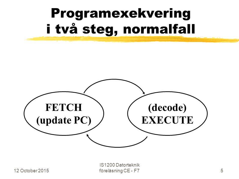 12 October 2015 IS1200 Datorteknik föreläsning CE - F76 Exceptions Undantag / Särfall Under den normala programexekveringen kan det inträffa speciella händelser av olika slag som hanteras på likartat sätt 1.