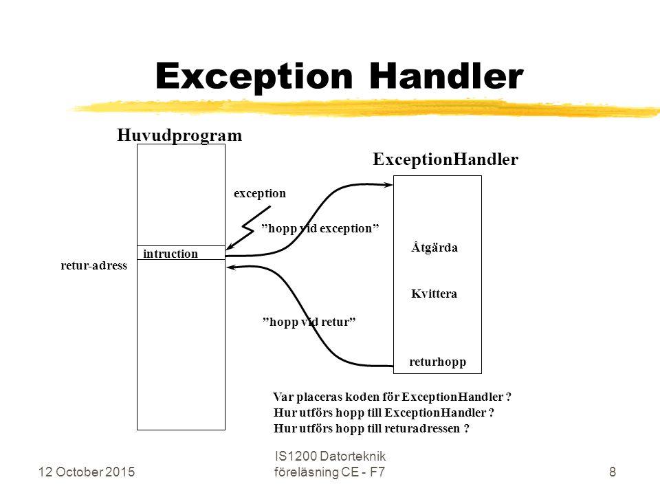 12 October 2015 IS1200 Datorteknik föreläsning CE - F769 Laboration 3 Interrupts (forts.) zAvbrott från serieportar är möjligt zAvbrott då RxRdy blir 1 (IBF) zAvbrott då TxRdy blir 1 (OBE) zDet finns: Separata Enable/Disable Interrupt för IBF/RxRdy och OBE/TxRdy