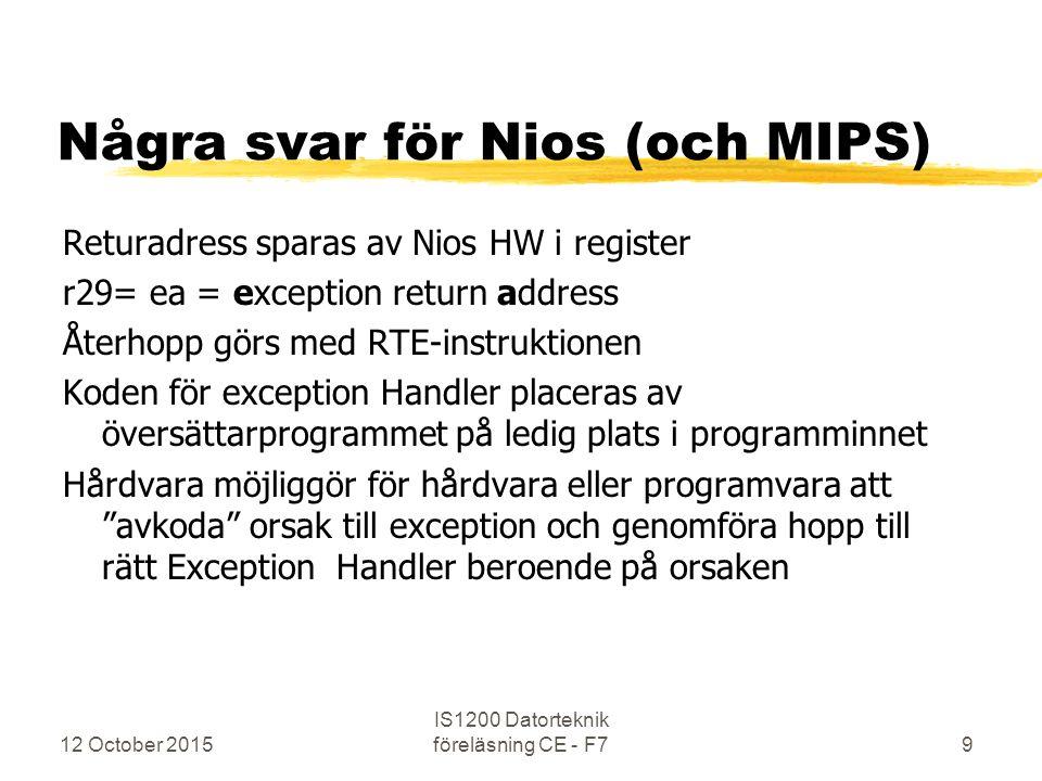 Några svar för Nios (och MIPS) Returadress sparas av Nios HW i register r29= ea = exception return address Återhopp görs med RTE-instruktionen Koden f