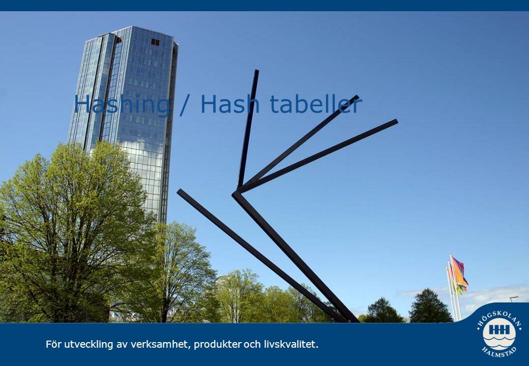 För utveckling av verksamhet, produkter och livskvalitet. Hashing / Hash tabeller
