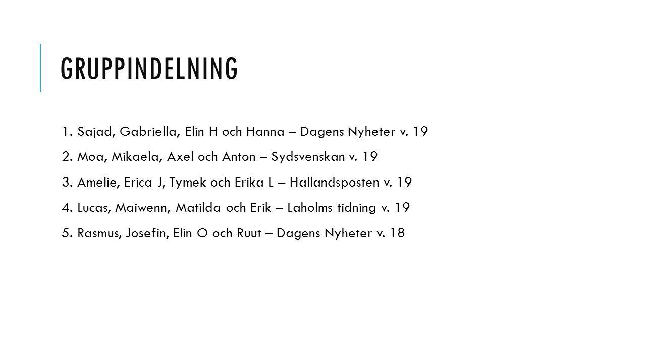 GRUPPINDELNING 1. Sajad, Gabriella, Elin H och Hanna – Dagens Nyheter v.