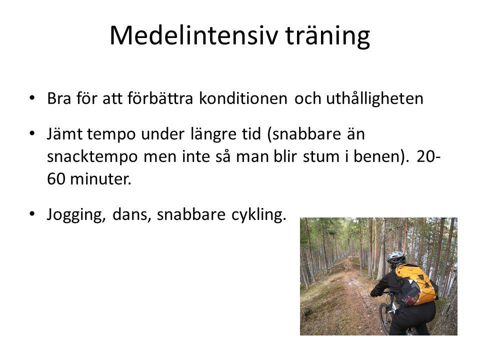 Medelintensiv träning Bra för att förbättra konditionen och uthålligheten Jämt tempo under längre tid (snabbare än snacktempo men inte så man blir stu