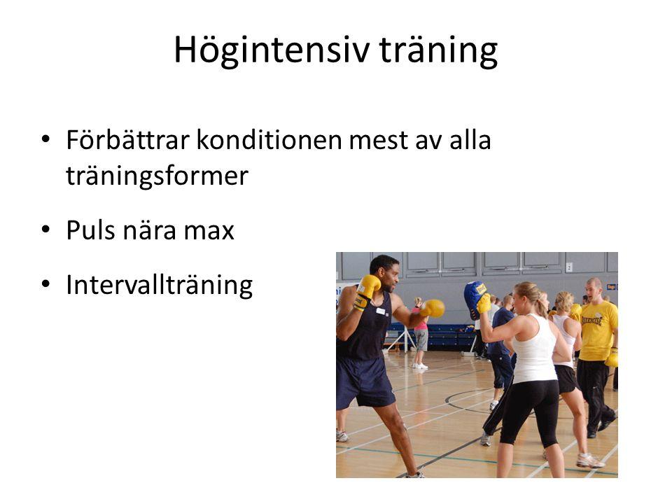 Högintensiv träning Förbättrar konditionen mest av alla träningsformer Puls nära max Intervallträning