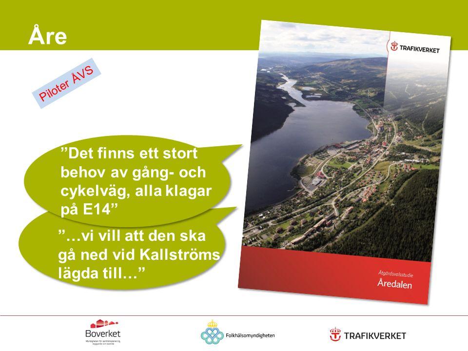 """Åre """"Det finns ett stort behov av gång- och cykelväg, alla klagar på E14"""" """"…vi vill att den ska gå ned vid Kallströms lägda till…"""" Piloter ÅVS"""