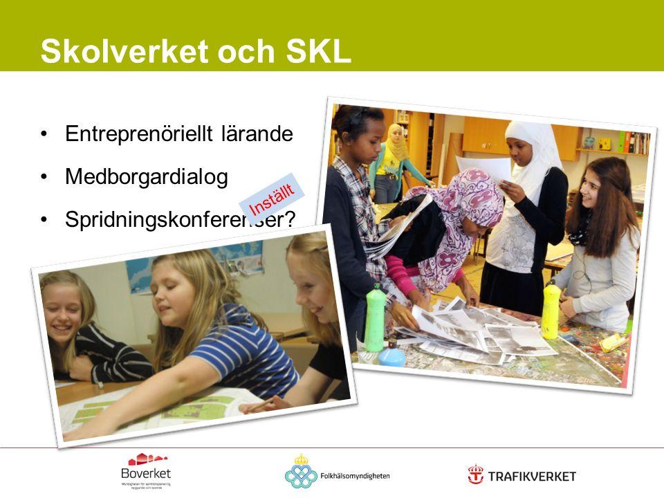 Entreprenöriellt lärande Medborgardialog Spridningskonferenser? Skolverket och SKL Inställt