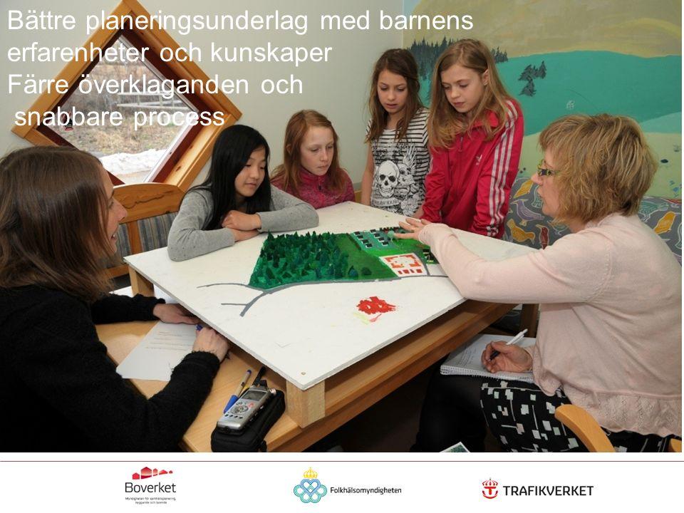 Regeringsuppdraget FN:s konvention om barns rättigheter Demokratiaspekter i den fysiska planeringen Ta tillvara lokal kunskap för bättre planering och god bebyggd miljö Delaktighet ger bättre hälsa Hållbar utveckling Ökad rörelsefrihet