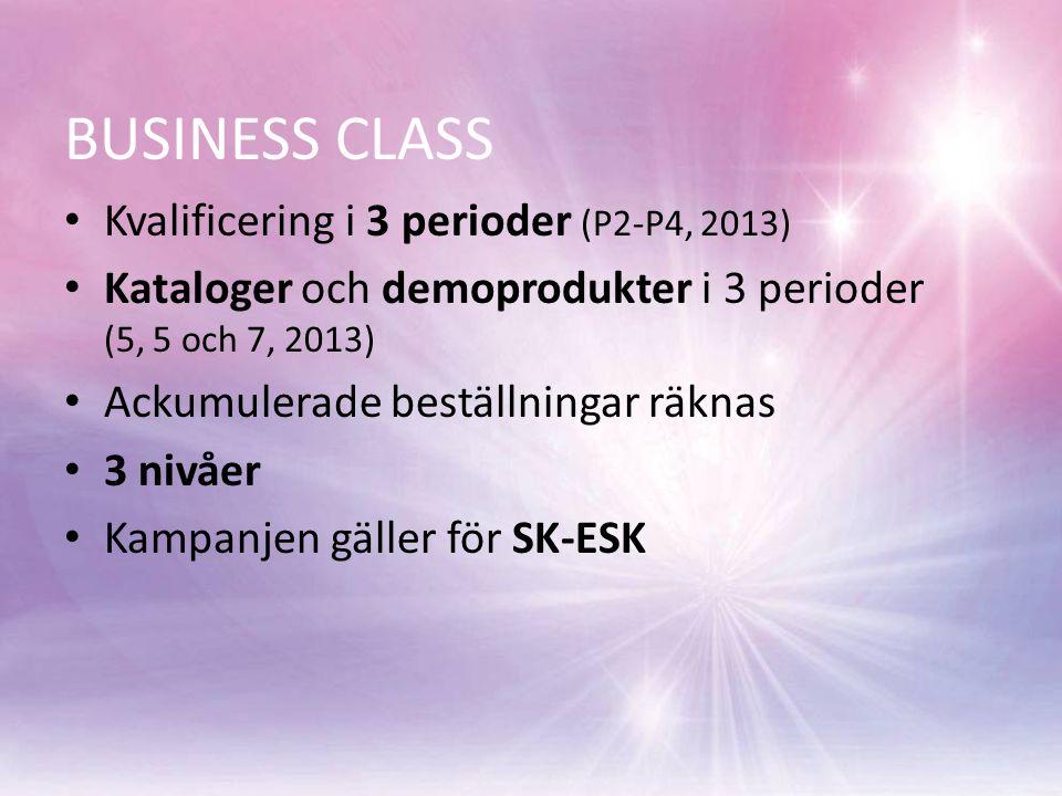 BUSINESS CLASS Kvalificering i 3 perioder (P2-P4, 2013) Kataloger och demoprodukter i 3 perioder (5, 5 och 7, 2013) Ackumulerade beställningar räknas 3 nivåer Kampanjen gäller för SK-ESK