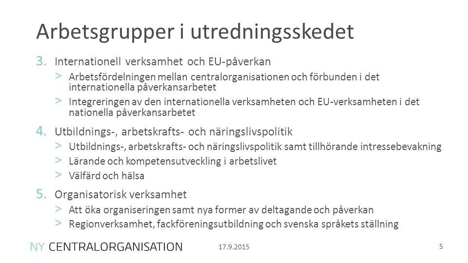 Arbetsgrupper i utredningsskedet 5 3.