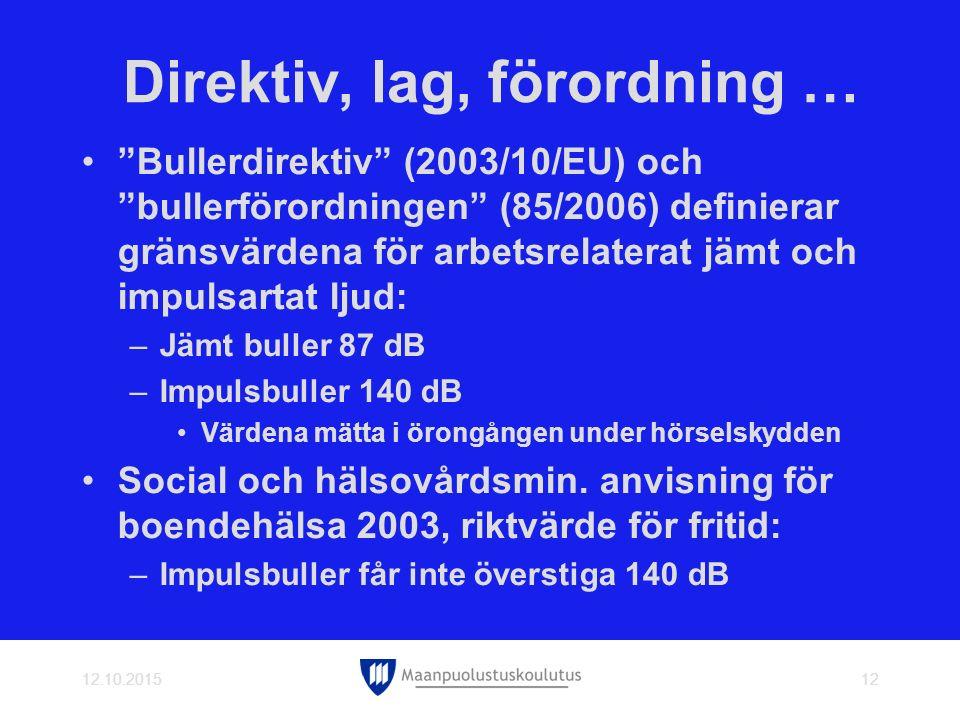 Direktiv, lag, förordning … Bullerdirektiv (2003/10/EU) och bullerförordningen (85/2006) definierar gränsvärdena för arbetsrelaterat jämt och impulsartat ljud: –Jämt buller 87 dB –Impulsbuller 140 dB Värdena mätta i örongången under hörselskydden Social och hälsovårdsmin.