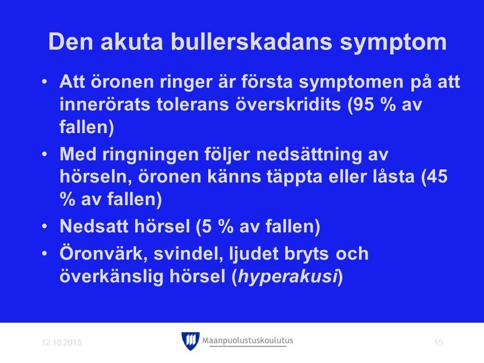 Den akuta bullerskadans symptom Att öronen ringer är första symptomen på att innerörats tolerans överskridits (95 % av fallen) Med ringningen följer nedsättning av hörseln, öronen känns täppta eller låsta (45 % av fallen) Nedsatt hörsel (5 % av fallen) Öronvärk, svindel, ljudet bryts och överkänslig hörsel (hyperakusi) 12.10.201515