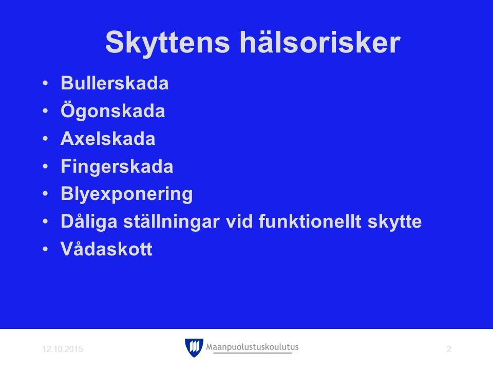 Skyttens hälsorisker Bullerskada Ögonskada Axelskada Fingerskada Blyexponering Dåliga ställningar vid funktionellt skytte Vådaskott 12.10.20153