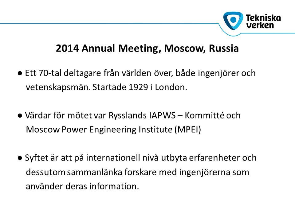 2014 Annual Meeting, Moscow, Russia ● Ett 70-tal deltagare från världen över, både ingenjörer och vetenskapsmän.