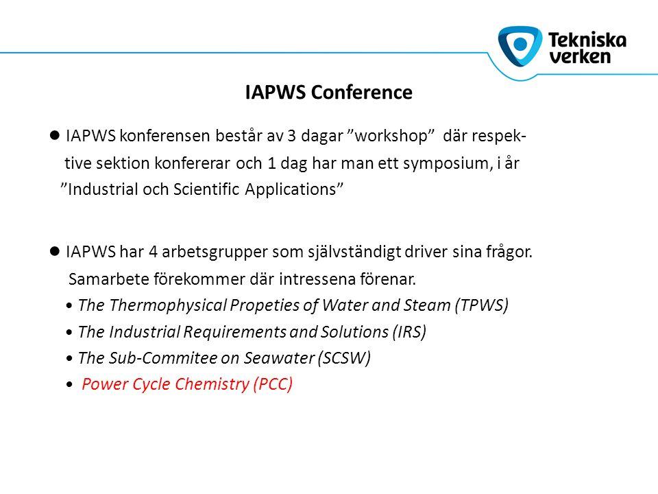 IAPWS Conference ● IAPWS konferensen består av 3 dagar workshop där respek- tive sektion konfererar och 1 dag har man ett symposium, i år Industrial och Scientific Applications ● IAPWS har 4 arbetsgrupper som självständigt driver sina frågor.