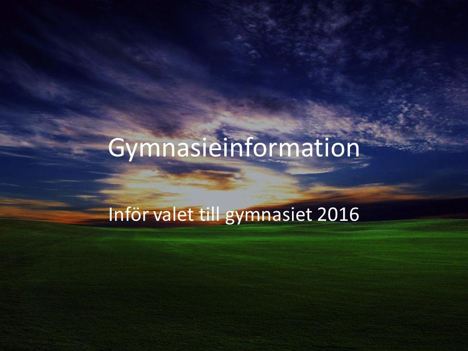 Kvällens punkter Att välja studier och yrke Gymnasieinformation Viktiga datum och händelser Kontaktinfo SYV Frågestund
