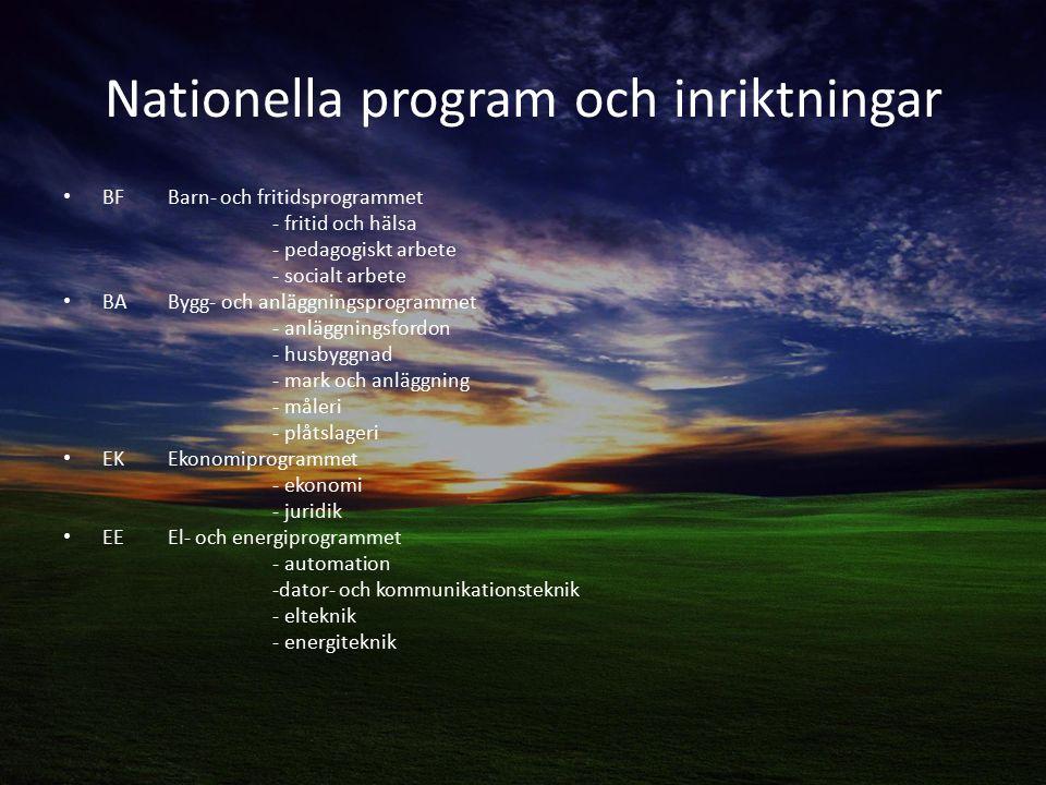 Nationella program och inriktningar BF Barn- och fritidsprogrammet - fritid och hälsa - pedagogiskt arbete - socialt arbete BA Bygg- och anläggningsprogrammet - anläggningsfordon - husbyggnad - mark och anläggning - måleri - plåtslageri EKEkonomiprogrammet - ekonomi - juridik EE El- och energiprogrammet - automation -dator- och kommunikationsteknik - elteknik - energiteknik