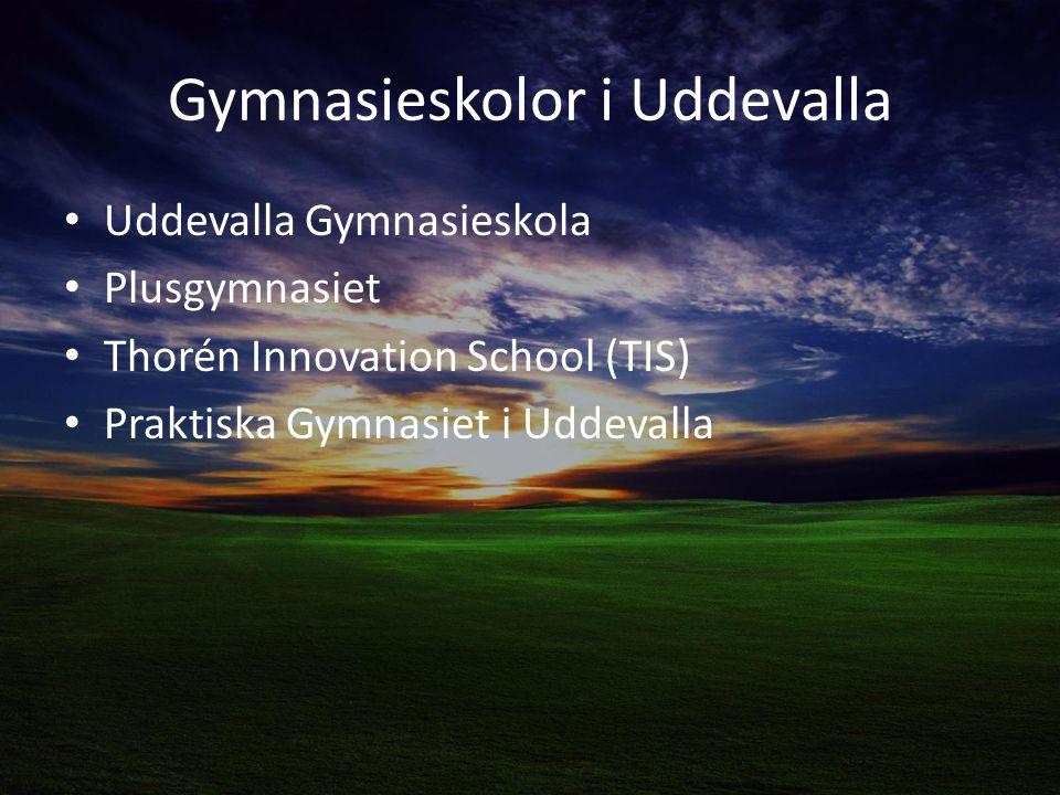 Gymnasieskolor i Uddevalla Uddevalla Gymnasieskola Plusgymnasiet Thorén Innovation School (TIS) Praktiska Gymnasiet i Uddevalla