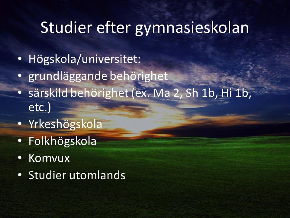 Studier efter gymnasieskolan Högskola/universitet: grundläggande behörighet särskild behörighet (ex.