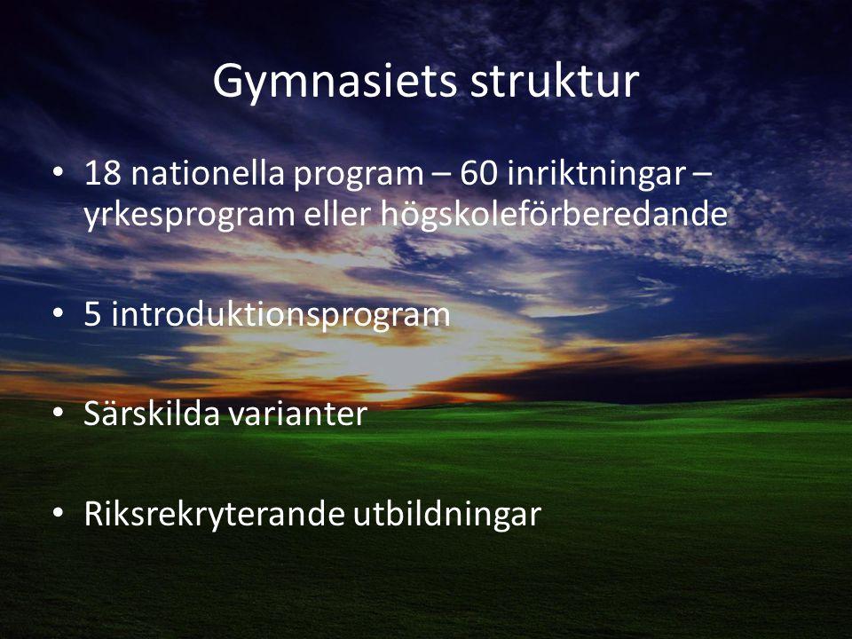 Gymnasiets struktur 18 nationella program – 60 inriktningar – yrkesprogram eller högskoleförberedande 5 introduktionsprogram Särskilda varianter Riksrekryterande utbildningar