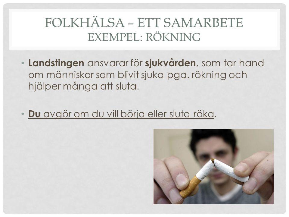 FOLKHÄLSA – ETT SAMARBETE EXEMPEL: RÖKNING Landstingen ansvarar för sjukvården, som tar hand om människor som blivit sjuka pga. rökning och hjälper må