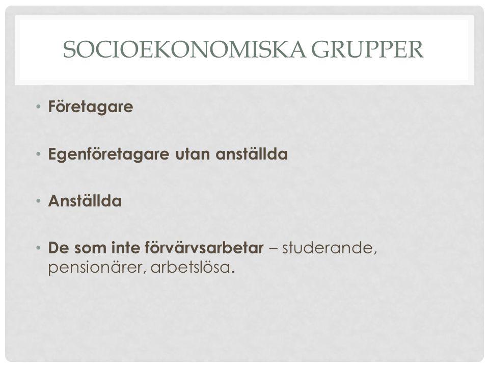 SOCIOEKONOMISKA GRUPPER Företagare Egenföretagare utan anställda Anställda De som inte förvärvsarbetar – studerande, pensionärer, arbetslösa.