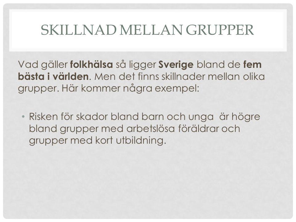 SKILLNAD MELLAN GRUPPER Vad gäller folkhälsa så ligger Sverige bland de fem bästa i världen. Men det finns skillnader mellan olika grupper. Här kommer